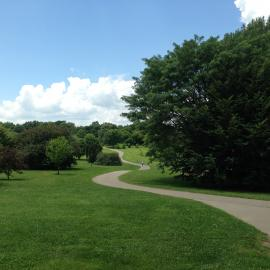 The trail meanders through the Bluegrass region of The Walk Across Kentucky at The Arboretum.