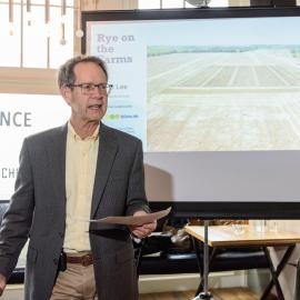Dave Van Sanford addresses the guests during the American Farmland Trust Rye Lunch in Jan. 2020. Photo provided by Dendrifund