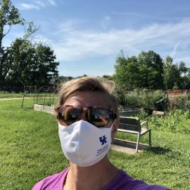 Bethany Pratt, Jefferson County horticulture extension agent, at one of the 10 community gardens in Louisville that extension manages.
