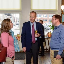 Billy Van Pelt (center) speaks with Stephanie and Sam Halcomb at the American Farmland Trust Rye Lunch in Jan. 2020. Photo provided by Dendrifund
