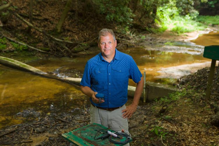 Forestry Professor Christopher Barton in Robinson Forest.