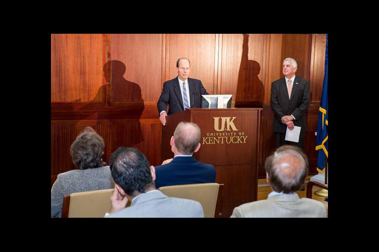 Bernhard Hennig, director of the UK Superfund Research Center, announces the $12.2 million NIH grant the center received.