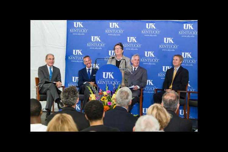 CAFE Dean Nancy Cox announces the college's role in the Food Connection at UK.