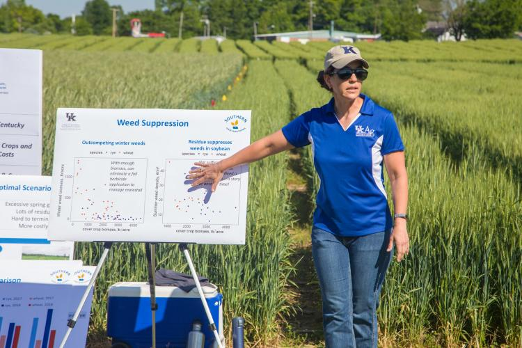 UK weed scientist Erin Haramoto speaks at a recent field day. Photo by Steve Patton, UK agricultural communications.