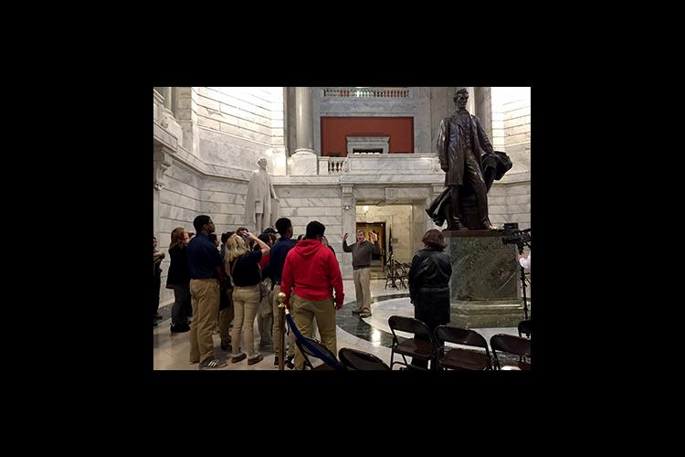 Butler Traditional High School students tour the Capitol rotunda.