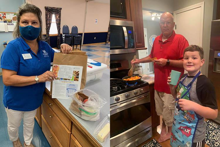 Mimi Quiroz (l) in Extension office kitchen, Duke family (r) in home kitchen