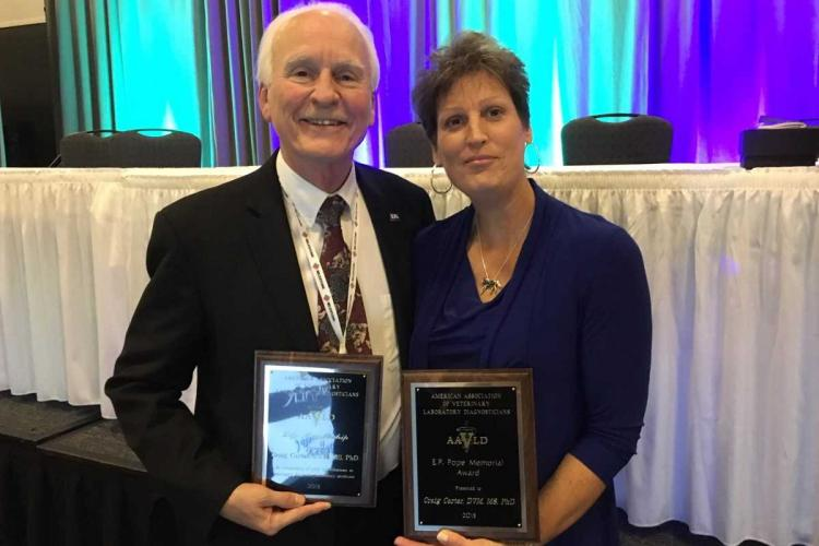 Craig Carter, with his wife Rhonda, after receiving the AAVDL awards. Photo provided by Carter.