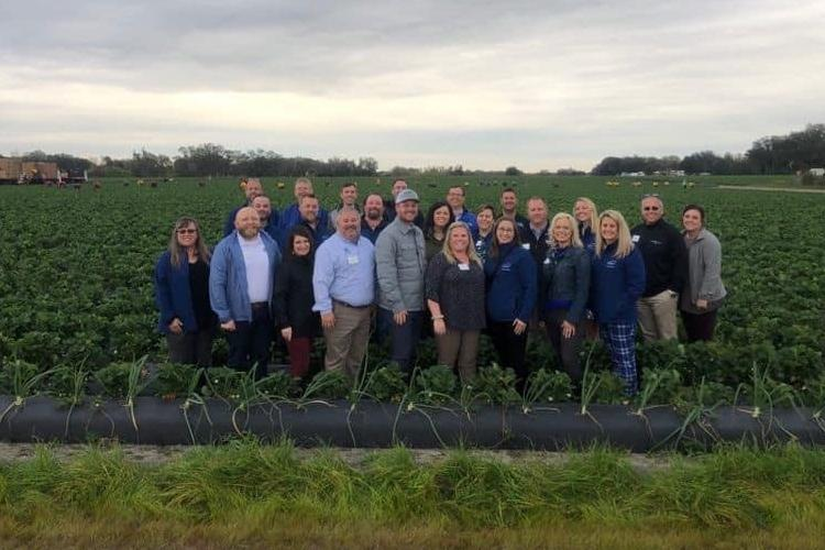 Members of Class 12 are pictured in a Florida strawberry field during a domestic learning journey in January 2020.