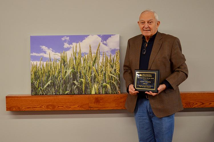 Hickman County farmer Curtis Hancock received the award for being a longtime supporter and research collaborator with UK wheat scientists. Photo by Katie Pratt, UK agricultural communications.