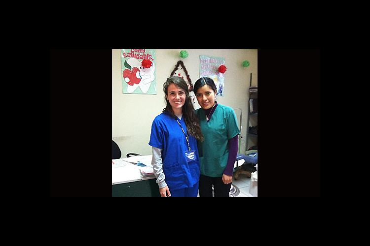 Mary Boulanger, left, a UK junior in human nutrition, worked as an assistant to Dr. Indira Candia at a health clinic in Peru.