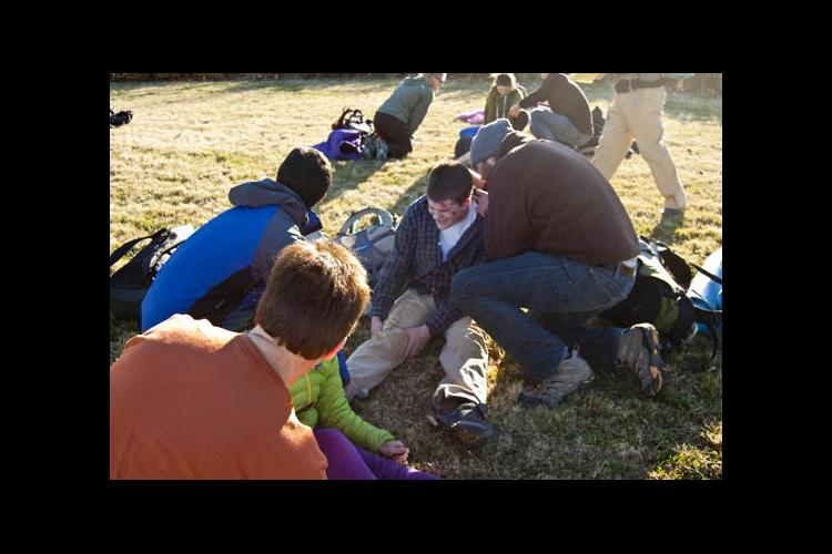 Wilderness First Responders Training mock rescue