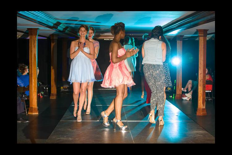 Students served as models in the department's fashion show this spring.