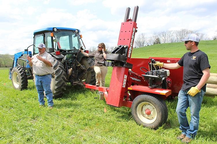 Fencing school instructors Jody Watson from ACI Distributors and Clay Brewer from Stay-Tuff Fencing demonstrate proper post driving techniques at a past Kentucky Fencing School.  Photo by Chris Teutsch, UK forage extension specialist.