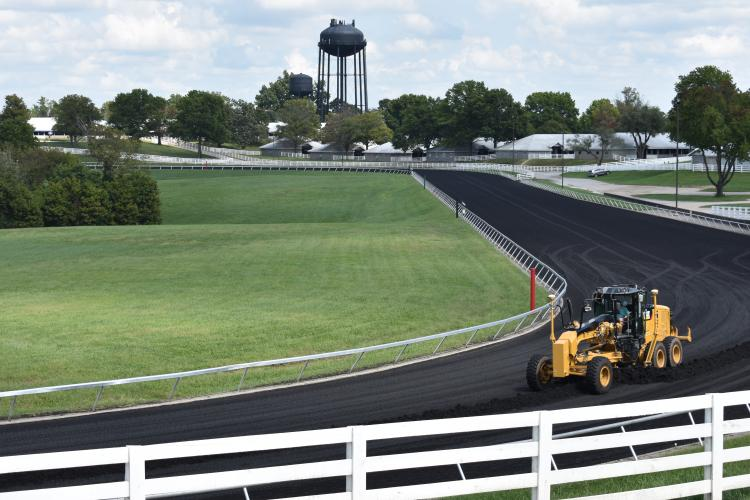 Horse racing industry employees from across the nation took turns learning how to properly grade a synthetic course on the practice racetrack at Keeneland. Photo by Katie Pratt, UK agricultural communications.