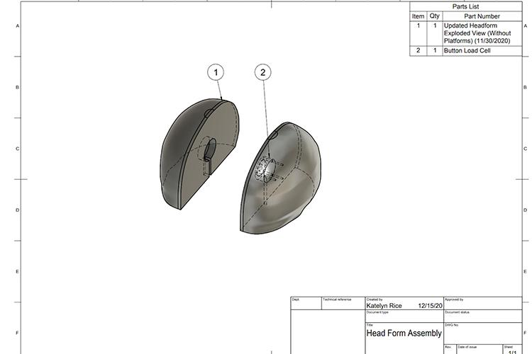 The students' headform design as of Dec. 1. Drawing by Katelyn Rice, UK student.