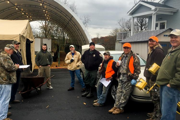 Participating hunters along with David Appelman, right, Bracken County extension agent.