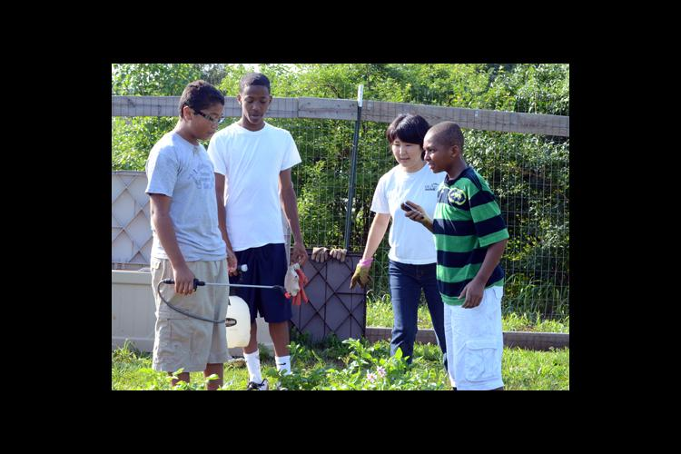 Yukie Kajita, third from left, instructs young men in the BMW Academy on how to spray sugar water on their research plots.
