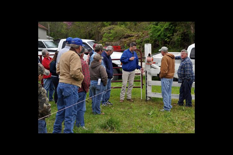 UK extension beef specialist Jeff Lehmkuhler, center, leads a presentation during the 2012 Kentucky Grazing School.