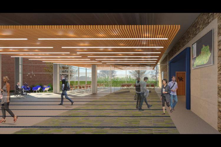 An architect rendering of the new lobby at the UK Grain and Forage Center of Excellence