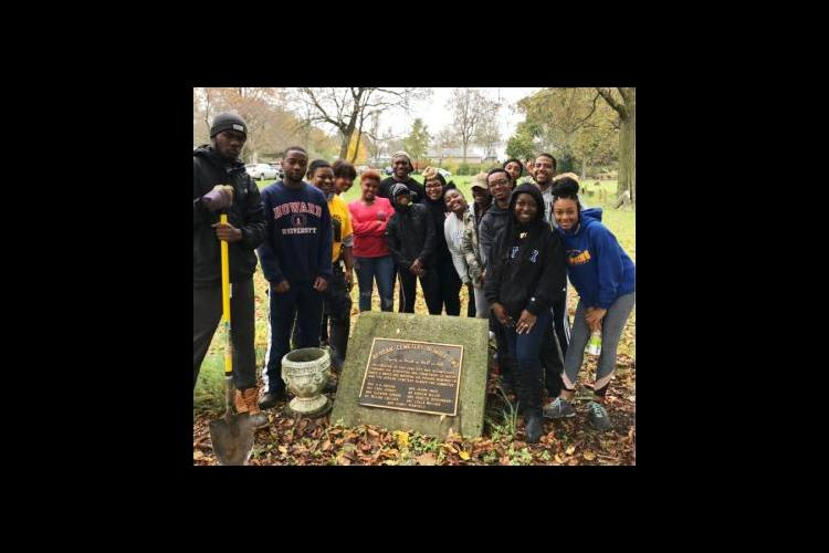 MANRRS students plant trees at African Cemetery No. 2.