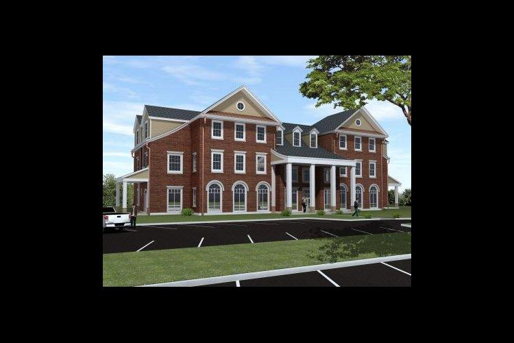 Architect's rendering of FarmHouse fraternity new home