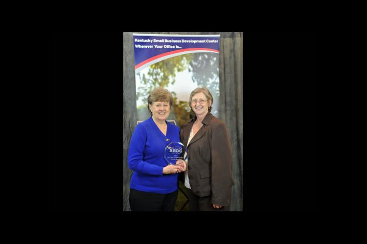 2015 KSBDC Lifetime Achievement Award winner Marge Berge (l) with state director Becky Naugle
