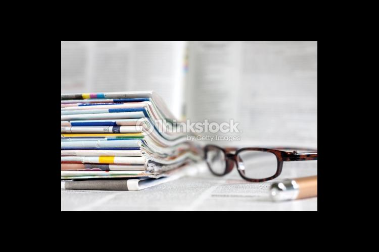 magazines and glasses