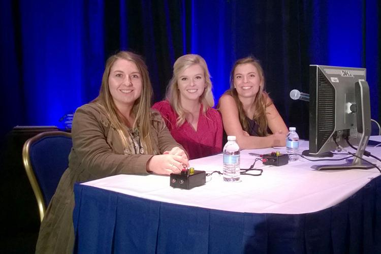 UK quiz bowl team members  from left: Josey Moore, Erica Rogers and Zoe Gabrielson during the national competition.  Photo by Leigh Maynard, UK agricultural economist.
