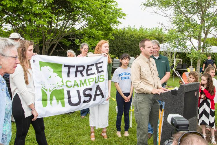 Presentation of Tree Campus USA Award to UK during 2017 Arbor Day event at The Arboretum