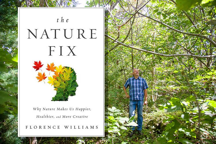 The Nature Fix book cover and UK's Robinson Forest.