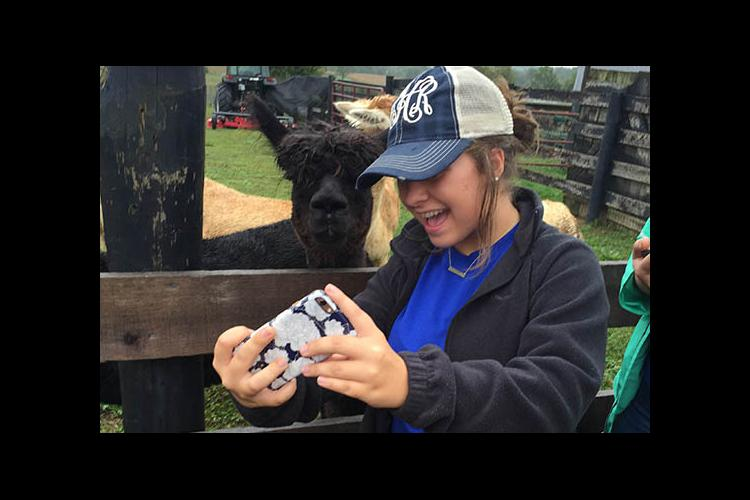 A selfie with an alpaca during Teen Leadership Washington County Agriculture Day.