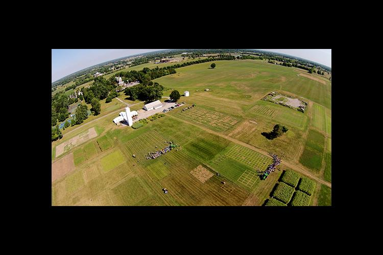 An aerial view of a past turf field day