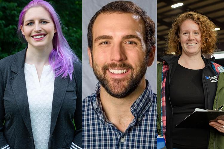 UK students Allyssa Kilanowski, Tim Shull and Staci McGill recently received USDA predoctoral fellowships. Photos provided.