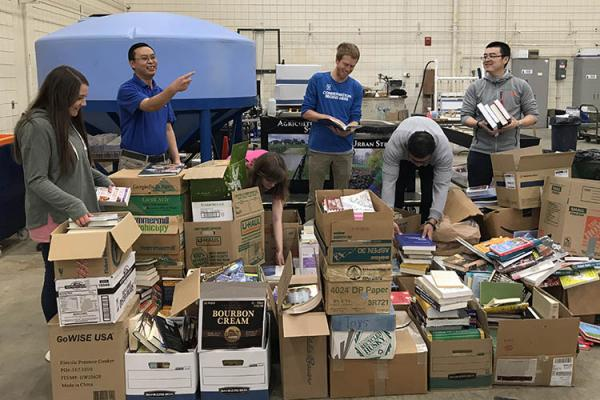 Sorting books during the 2018 Alpha Epsilon book drive