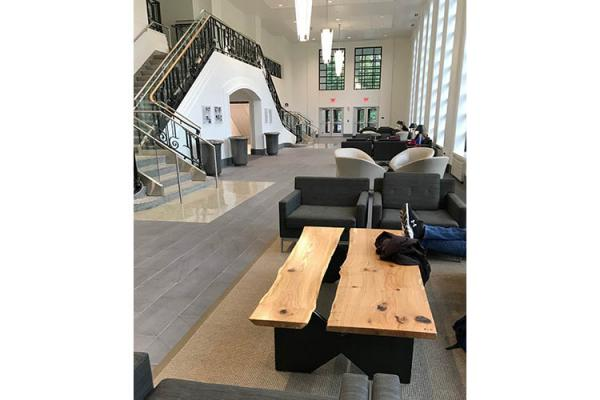 A coffee table in the Gatton Student Center are made from pin oaks harvested from the campus. The tables were donated and manufactured by the the UK Department of Forestry and Natural Resources.