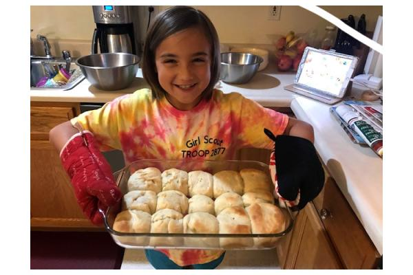 Campbell County 4-H'er Marissa Lause shows off the yeast rolls that she learned to make during the 4-H Bake-A-Long Club. Photo submitted.