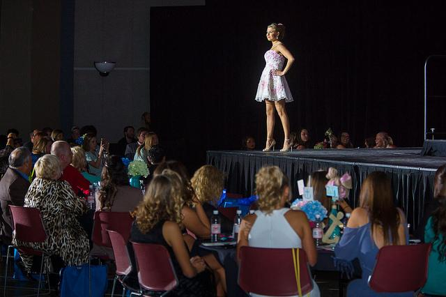 A student models at the 2015 Color Me Spring fashion show.