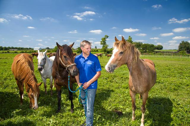 Nielsen with horses at UK's Maine Chance farm.