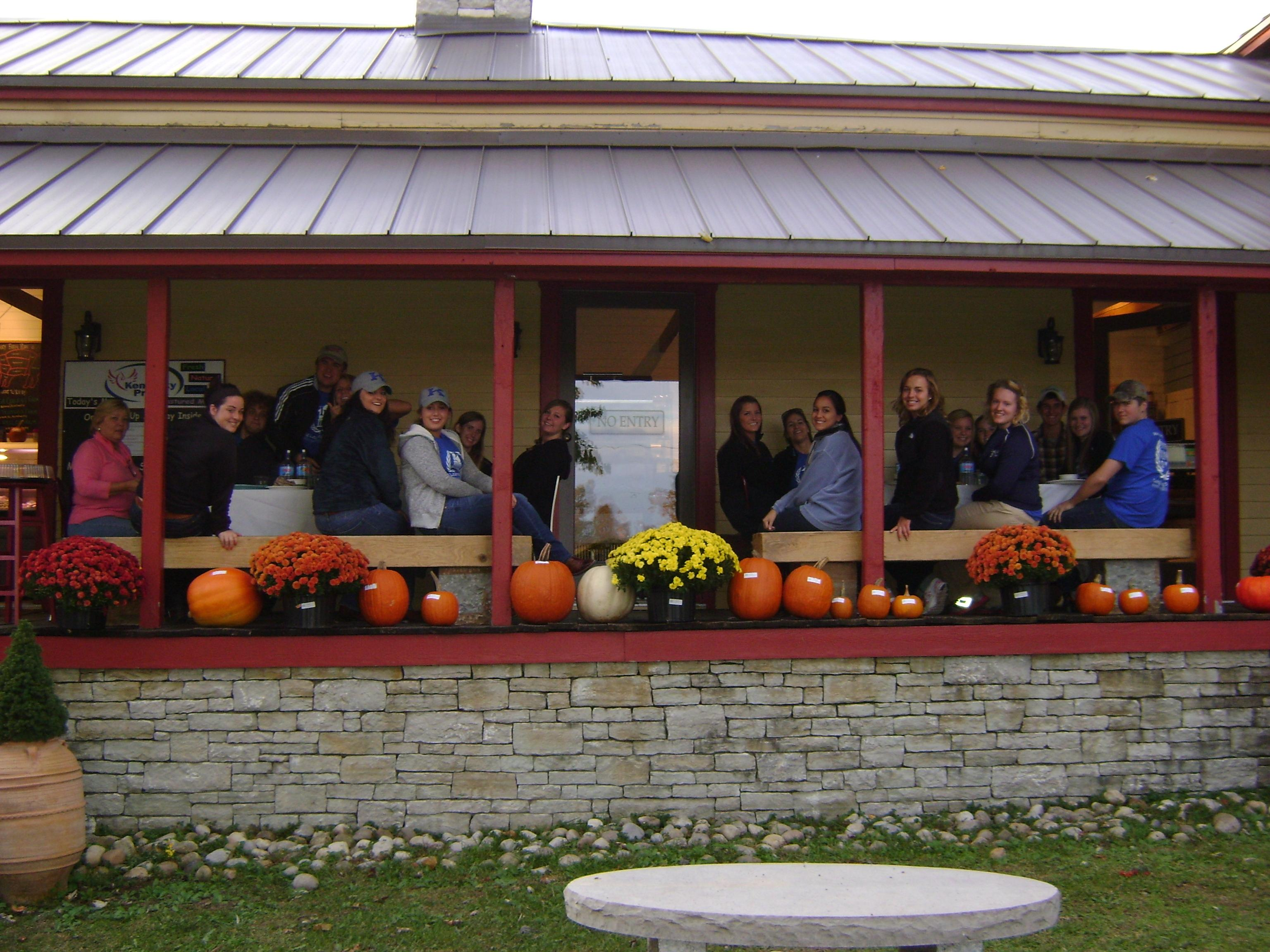 Students in the Agriculture Residential College on a trip to Marksbury.