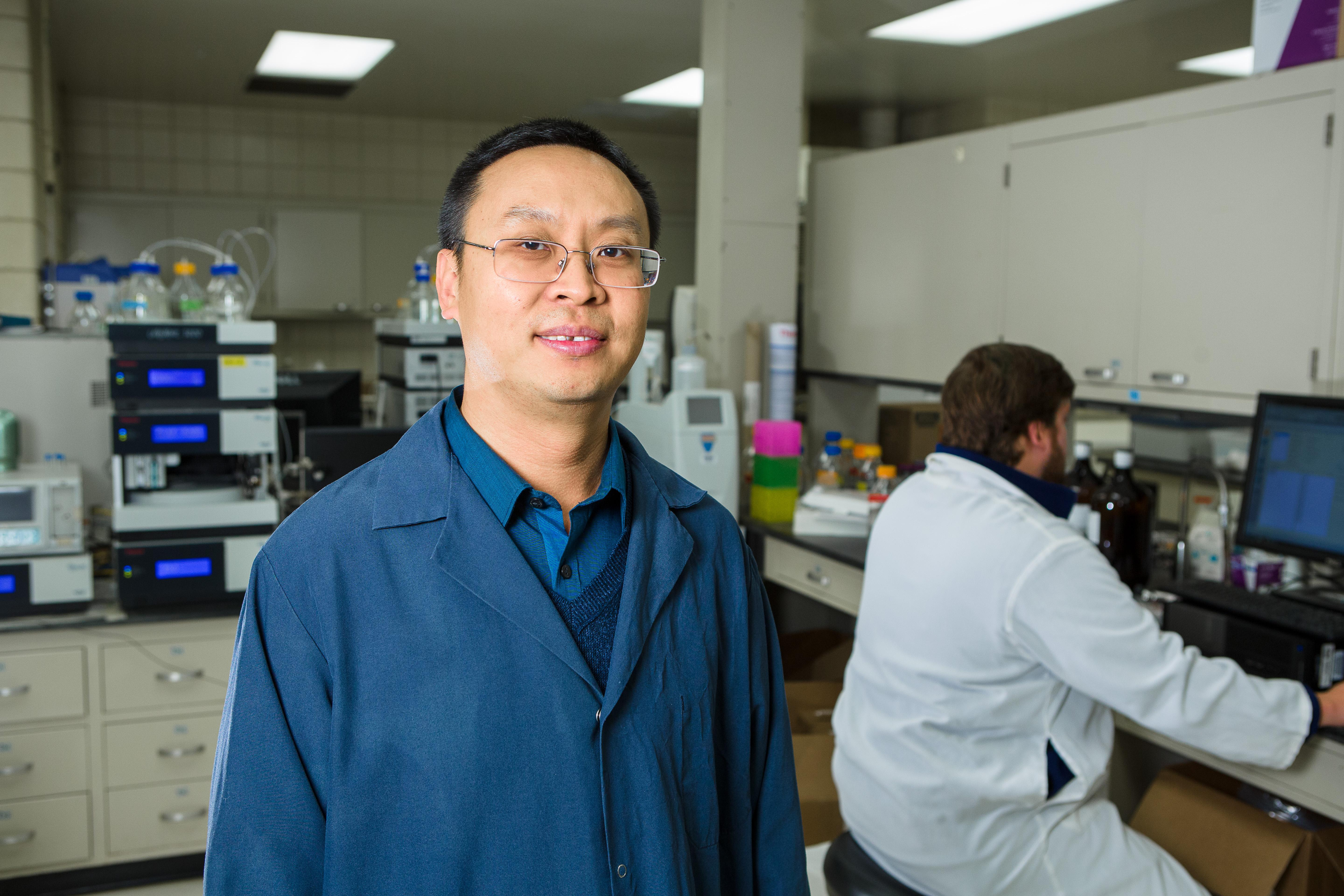 Jian Shi is the lead researcher on the grant studying how to remove sulfur from pine byproducts used in biofuel production. Photo by Matt Barton, UK agricultural communications.