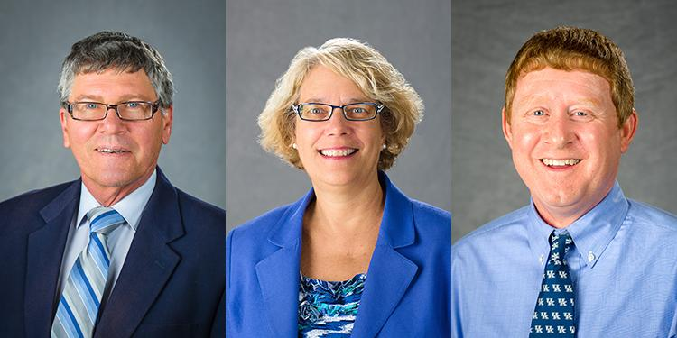Robert Houtz, Sandra Bastin and Orlando Chambers have been appointed associate deans in the colllege. Photos by Matt Barton and Steve Patton, UK agricultural communications.