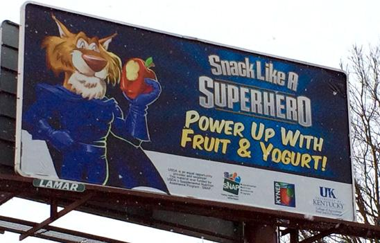 """Billboards that promote """"Snacking Like a Superhero"""" are located across the state."""
