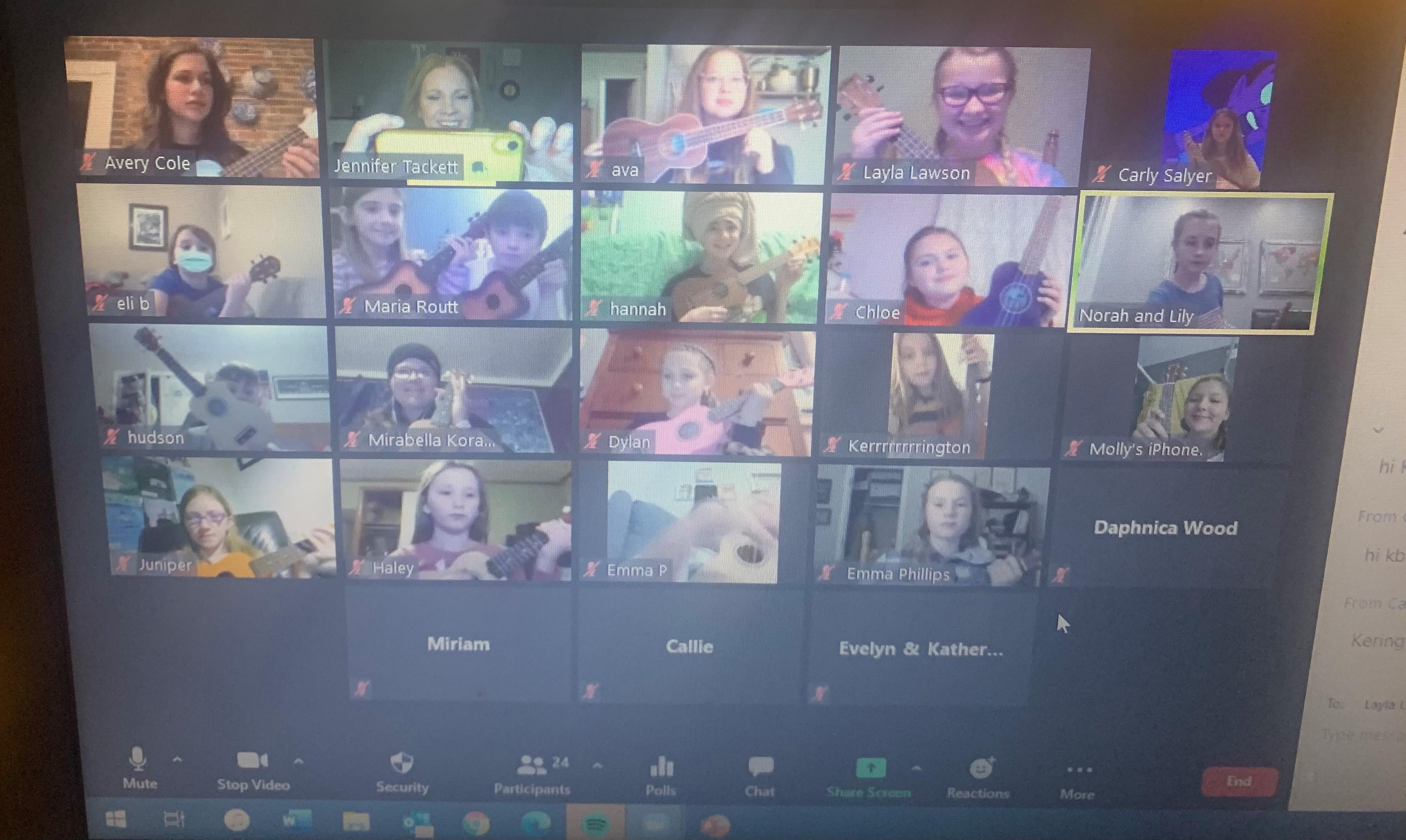 The virtual ukulele club was one of the popular online programs for Kentucky 4-H last year. Photo courtesy of Jennifer Tackett, 4-H youth development specialist.
