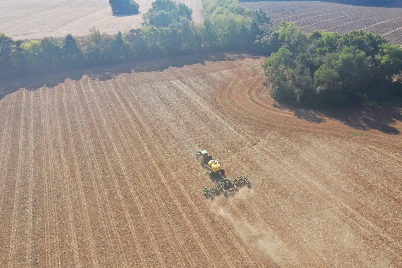 Aerial shot of planting rye on Walnut Grove Farms.