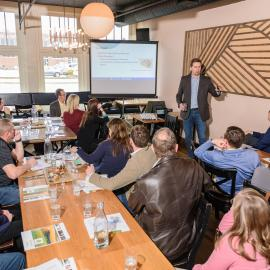 Chad Lee addresses guests at the American Farmland Trust Rye Lunch in Jan. 2020. Photo provided by Dendrifund