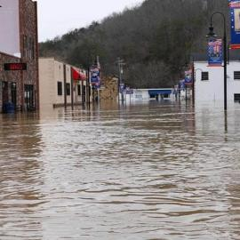 Flooded downtown street in Beattyville, KY. Photo by Natasha Lucas