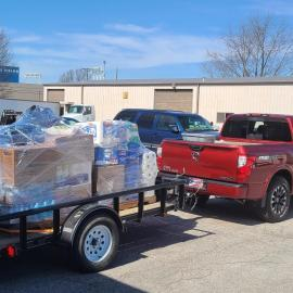 A truck full of donated supplies for Eastern Kentucky flood victims leaves UK's Agriculture Distribution Center  for the Wolfe County Extension office on March 5. Photo by Chris Foxworth, UK agricultural communications.
