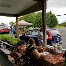 The Metcalfe County Farmers Market set up a drive-thru market. Photo by Lynn Blankenship.