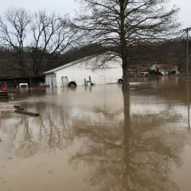Torrential rains caused flooding at UK's Robinson Center for Appalachian Resource Sustainability. Photo by Daniel Wilson