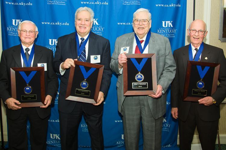 2015 Hall of Distinguished Alumni inductees (l-r) Randall Barnett, Tom Hammond, John Robertson and William Moody.